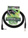 SOMMER CABL IC-Spirit 1x0,50qmm, Cablu 6,3mm tată la 6,3mm tată 90grade, negru,  3m